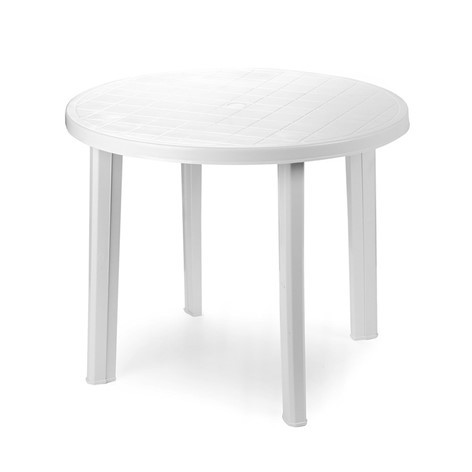 Table ronde tondo banche 90x90x72 salon de jardin for Table de jardin ronde en resine blanche